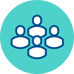 group of people icon with blue background
