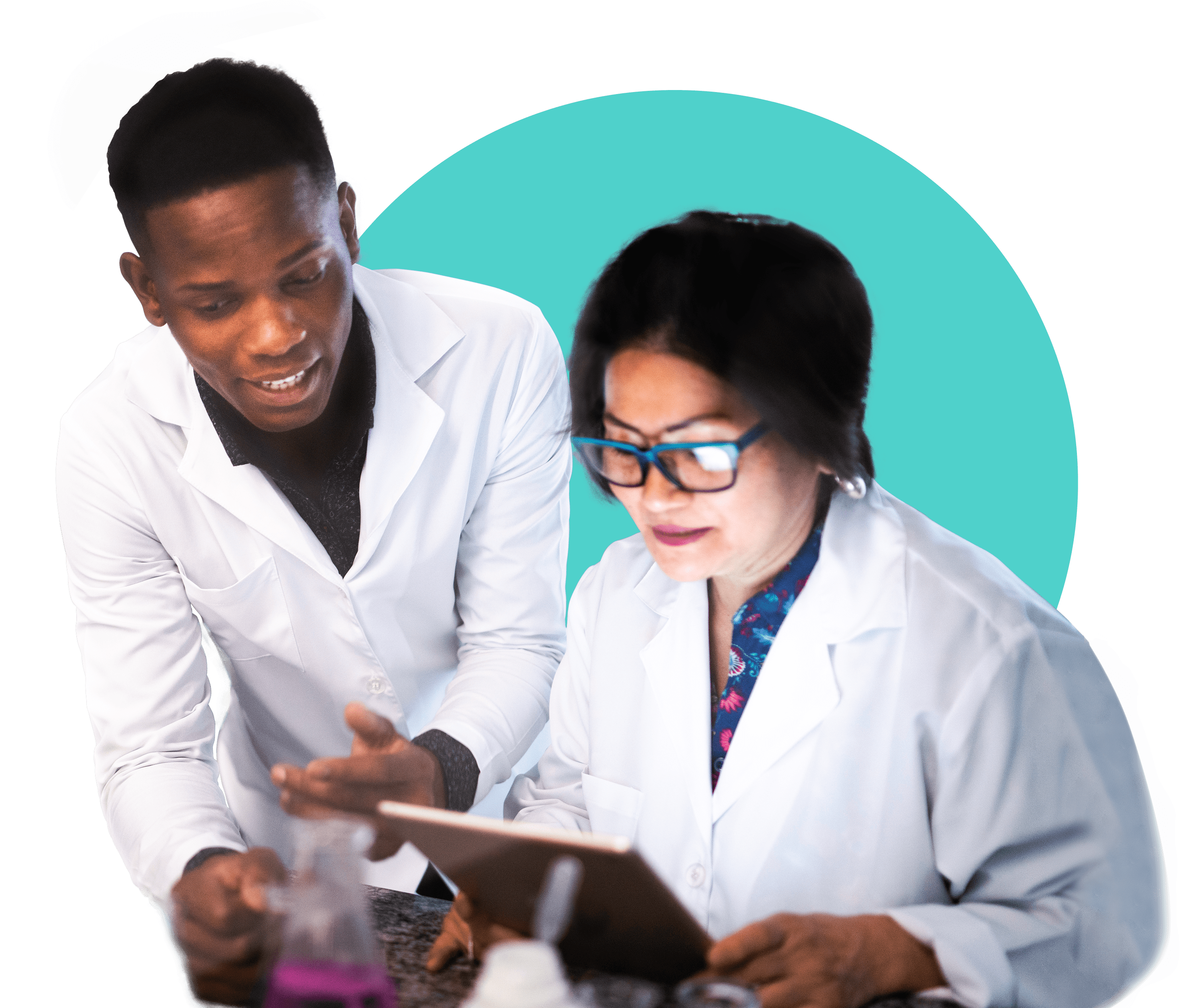 Man and woman lab scientists
