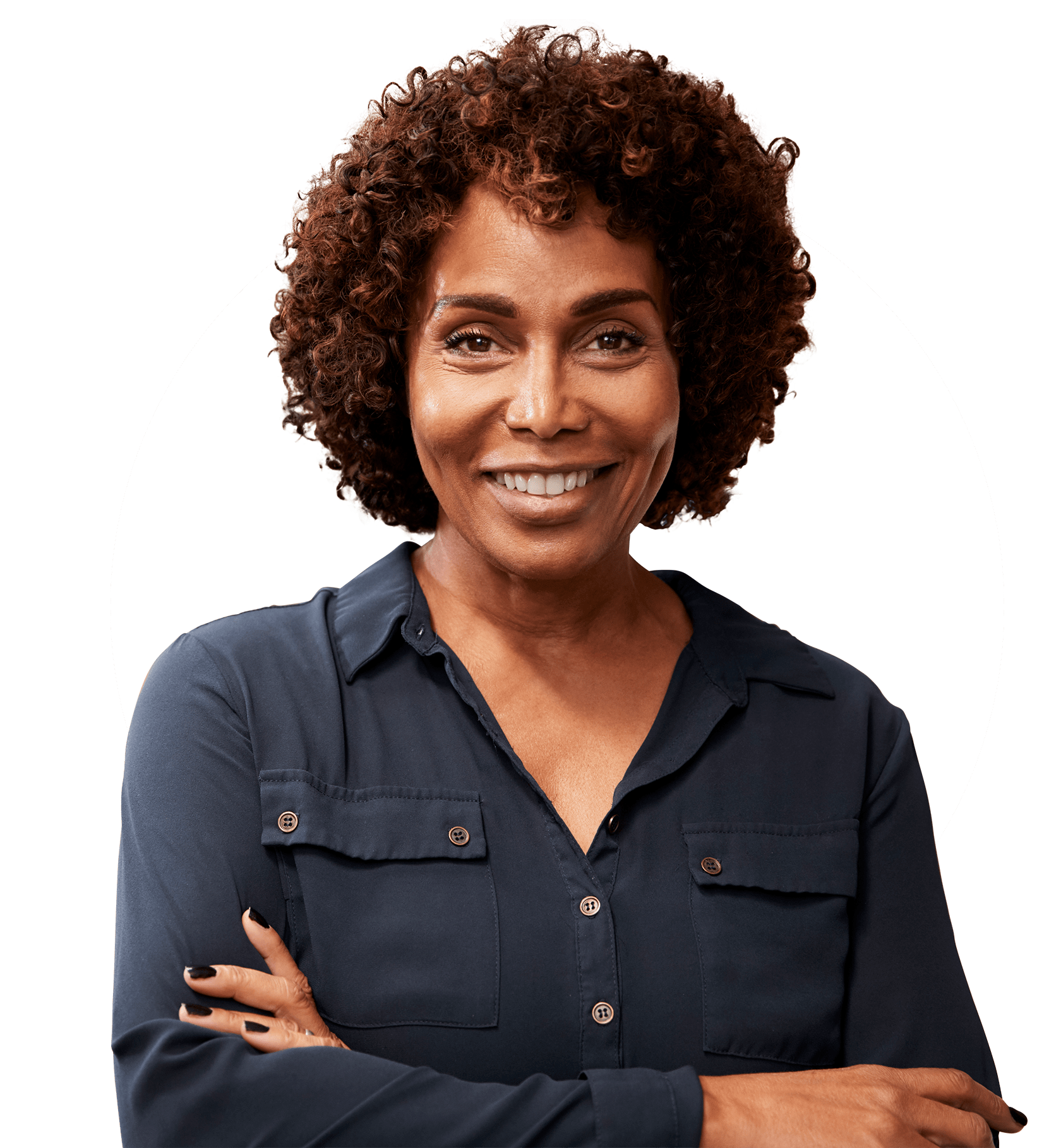 picture of a woman smiling with her arms crossed